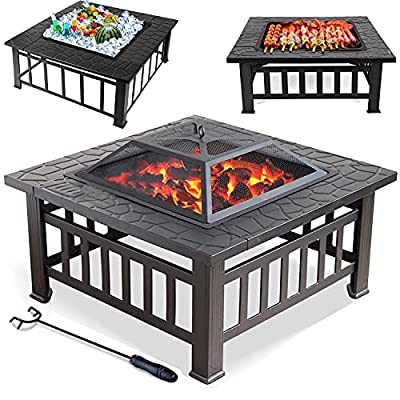 32 Inch Outdoor Fire Pit, Multifunctional Metal Fire Pit Square Fireplace Wood Burning Steel BBQ Grill Firepit with Spark Screen Cover Fire Bowl Stove for Backyard Poolside Beach Camping Patio Graden