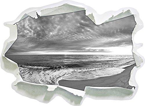 Strandufer Kunst B&W, Papier 3D-Wandsticker Format: 92x67 cm Wanddekoration 3D-Wandaufkleber Wandtattoo