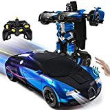 VillaCool 1:14 Scale RC Robot Cars Toys for Children, Gesture Sensing Transform Remote Control Car One-Button Deformation, Best Birthday Present for Boys and Girls【2021 Updated Version】(Blue)