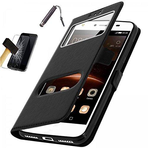 Nokia 6 Custodia a Libro Nero [Funzione di supporto] + Pellicola proteggi schermo vetro temperato + Stylus