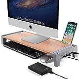 Monitorständer für Computerbildschirme-Computer Stand Riser mit USB-Anschlüssen-Monitor Riser mit iPad-Halter und Kabelmanagement