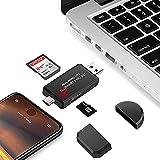 Lector de tarjetas SD para cámara de caza 4 en 1, USB 2.0, lector de tarjetas de memoria compatible con SD, Micro SD, TF, visor de vídeo fotográfico para cámaras de caza,