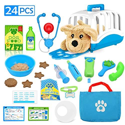 Doen alsof dokterssets - Verzorging van dierenverzorging Medische kit, Dierenartsgereedschap met hondenspeelgoed Educatief speelgoed voor 3 jaar oud (24 STUKS)