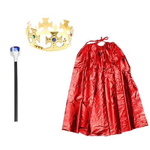 Amosfun - Costume da re per Halloween, Costume da Principe, Mantello, Corona, Bastone, Costume per Cosplay, Costume per Halloween e Feste di Natale