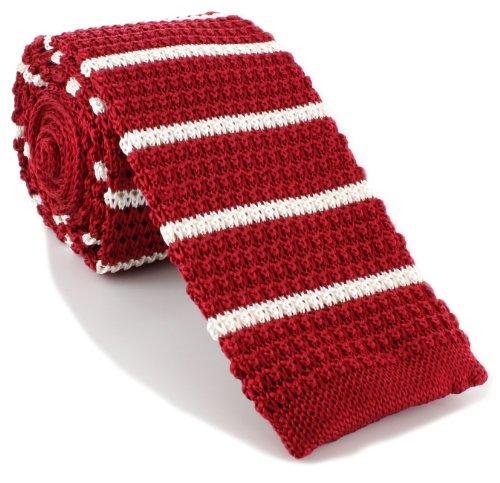 Michelsons of London Rouge/Blanc soie tricoté rayé maigre cravate de