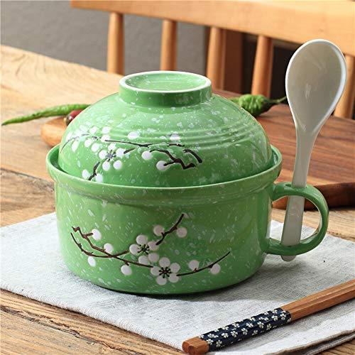 Suppenschüssel mit Griff, japanischer Stil, große Kapazität, Sofort-Nudeln, Keramik mit Deckel, Löffel, Mikrowelle leicht zu reinigen, Mikrowellen-Nudelschale, blau L grün