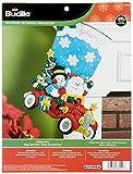 Bucilla 18-Inch Christmas Stocking Felt Applique Kit, Holiday Drive