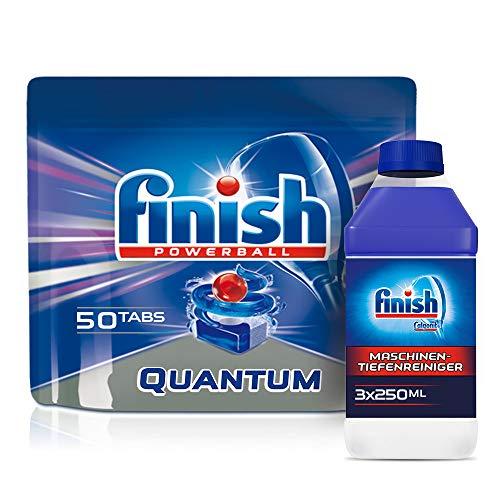 Finish Spülmaschinen-Vorteilspack, Quantum Spülmaschinentabs XXL (50 Tabs) + 3x Maschinenpfleger (3 x 250ml)