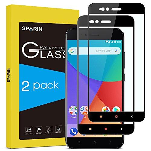 SPARIN [2-Pack Cristal Templado Xiaomi Mi A1, Full-Cover Protector Pantalla Xiaomi Mi A1 [Sin Burbujas] [Anti-Arañazos] [Dureza 9H] [Anti-Huella] [Ajuste Vridrio Negro