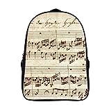 XIAHAILE Kompakte Rucksack Büchertasche für Männer und Frauen, leichter Rucksack für Schul und Urlaubsreisen,Alt Musik Notizen Bach Musik Noten