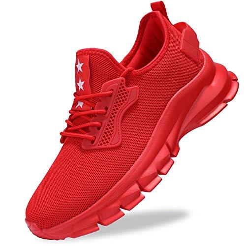 GURGER Turnschuhe Herren Outdoor Laufschuhe Leichte Sportschuhe Sneakers Straßenlaufschuhe Fitness Fitnessschuhe Joggingschuhe Rot Größe 48