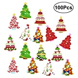ULTNICE Botones de madera de la Navidad Botones coloridos del árbol de navidad para coser Crafting 100pcs (color al azar)