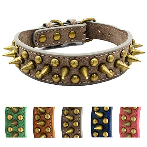 Spiked Dog Collar,Protect The Dog's Neck from Bites. - Fit SmallMedium & Large Dogs (Sharp Grey,S) Collar para perro con tachuelas y púas Anti-mordida