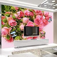 3D写真ロマンチックな美しいピンクのバラの花壁画の壁の写真リビングルームの寝室のテレビの背景の壁紙家の装飾-250x175cm