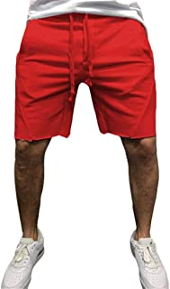 UUYUK Men's Gym Workout Running Solid Color Shorts Sweatpants