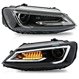VLAND Headlight Assembly Fit for Volkswagen JETTA 2011 2012 2013 2014 2015 2016 2017 2018,with DRL Sequential Turn Signa, Full LED Light, Plug-and-play,Delivery within 3-5 days