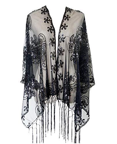 KELAND Women's Glittering 1920s Scarf Mesh Sequin Wedding Cape Fringed Evening Shawl Wrap (Black)(Size: One Size)