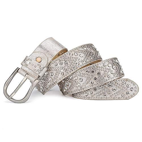 Yiph-Belt Gürtel Freizeit Kleidergürtel for Damen Mode Cool Rivet Strass Gürtel (Farbe : Silver White)