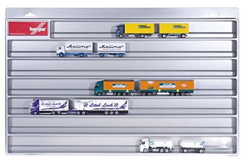 herpa 029728 029728-LKW-Schaukasten-Hängerzüge, Hängevitrine für Modellautos und Flugzeuge mit Liebe zum Detail, Silber