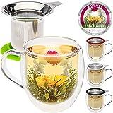 Teabloom Tazza in Vetro a Doppia Parete con Infusore & Coperchio + 2 Deliziosi Fiori di tè - Tazza da 450 ml - Coperchio Utilizzabile Come Sottobicchiere - Disponibile in 4 Colori (Verde)