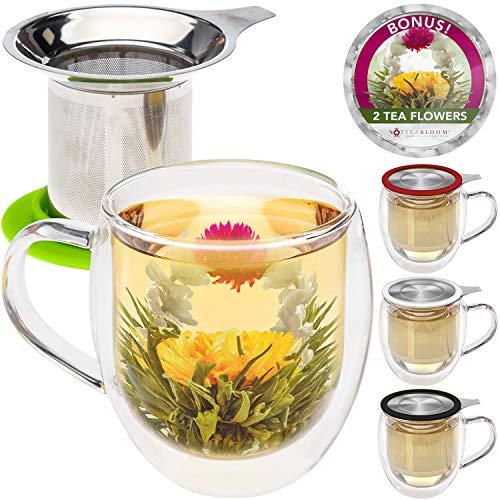 Teabloom Doppelwandiger Becher aus Glas mit Tee-Ei & Deckel + 2 Gourmet Teeblumen - 450 ml Teebecher...