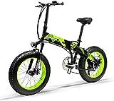 Brogtorl LANKELEISI X2000 20 pulgadas bicicleta grasa plegable e-bike 7 velocidad nieve 48V 12.8ah 1000W motor aleación de aluminio marco 5 PAS mountain bike (verde)