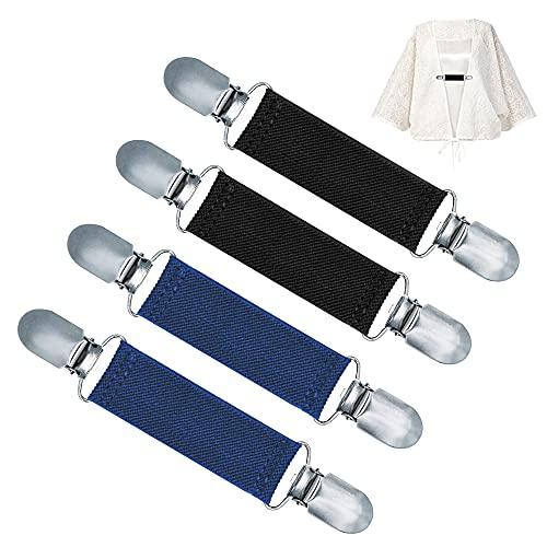 4 Stück Pullover Clips elastisch, Sweater Cardigan Clips Vintage, Elegante Strickjacke Clip Schnalle Klaamer mit Gummibänder, Handschuh Clips Kragen Clips Poncho Clip für Damen Herren Kinder (Typ B)