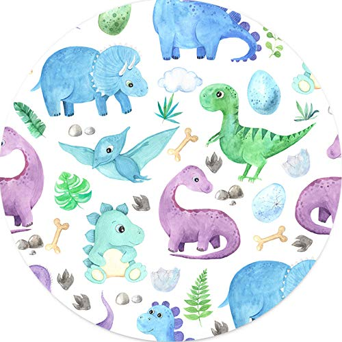 Dinosaur Babies Mouse Pad Round Circular Mini for Kids Girls Boys Women, Cute Mouse Mat for Laptop Computer Gaming Bussiness Travel