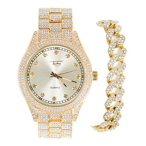 Mens Watch and Cuban Bracelet Combo Set - Gold 43mm Iced Out Quartz Watch (Adjustable Metal Band) and 15mm Straight Cut Cuban Bracelet