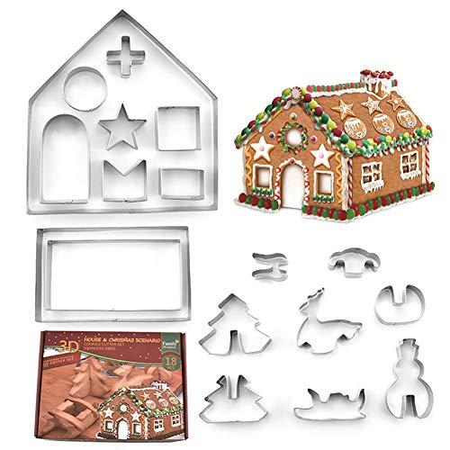 クッキー型 抜き型 クッキーカッターお菓子作り 18pcs クリスマスケーキギフト サンタクロース 雪だるま クリスマスツリー そり 鹿 おにぎり 野菜 手作り ステンレス製 3D DIY 家形 可愛い