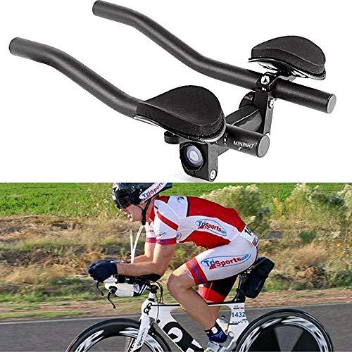 FRFJY Manillar Aero Barra Triatlón Contrarreloj Tri Ciclismo para Bicicleta Resto Manillar, Bicicleta de Montaña o Carretera Bicicleta Aleación de Aluminio - Negro