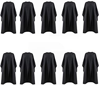 Bqueen 59x47inch Barber Hairdressing Cape Professional Waterproof Hair Salon Cape with Adjustable Metal Snap Closure Nylon Hair Salon Cutting Cape Home Style Cutting Apron Solid Black (10 Pack)