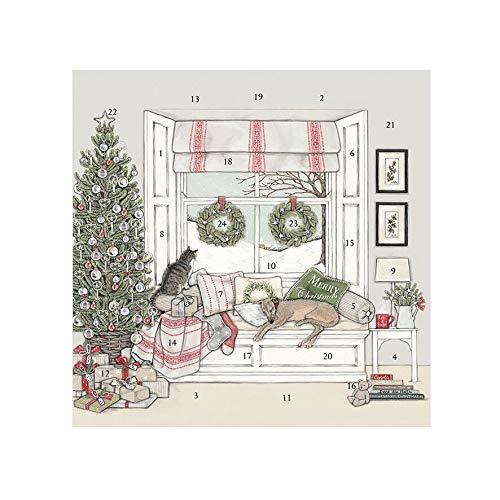 Wrendale Designs Sally Swannell Adventskalender, 30 cm, quadratisch, wartet auf Weihnachten