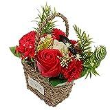 BESPORTBLE Jabon Artificial Cesta de Flores de Seda Rosa Roja Ramo Mini Plantas Artificiales Florero Hecho a Mano Arreglo de Boda para Navidad Vacaciones Boda Regalo de San Valentin Rojo