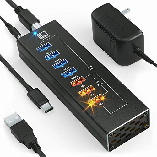 Powered USB Hub - Multi-Port USB Hub with 7 USB 3 Ports, 3 Fast Charging USB 3.0 Ports, Cords C and A, Power Adapter - by Latorice (Black)