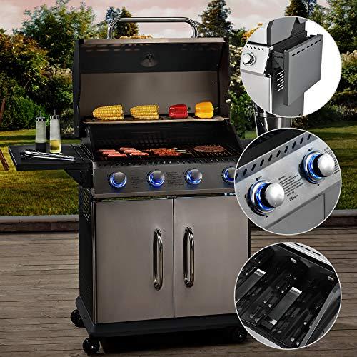 Broilcue BBQ Gasgrill Kansas 4 Edelstahl-Brenner 12 kW - Gas Grillwagen mit LED, Gusseisen-Grillrost, Deckel mit Grill-Thermometer & Warmhalterost