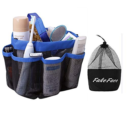 Quick Drying Mesh Caddy Organizer 8 Pockets Hanging Shower Toiletry Bag Makeup Cosmetic Storage Bag Bath Shampoo Shower Organizer Oxford Travel Gym Dorm Bathroom Pouch Case Washing Bag with Handles Blue