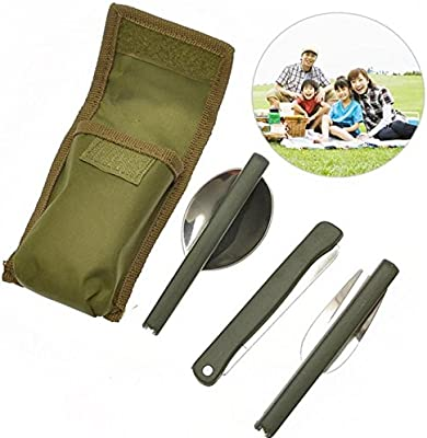 Funnytoday365 Camping Picnic Tableware 3Pcs/Set Multi-Function Stainless Steel Army Green Folding Cutlery