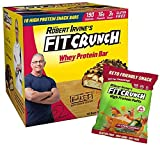 FITCRUNCH Snack Size Protein Bars, Designed by Robert Irvine, World's Only 6-Layer Baked Bar, Just 3g of Sugar, Gluten Free, High Protein & Soft Cake Core (18 Count Peanut Butter + Jalapeno Puff)