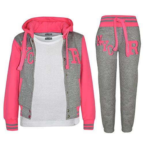 A2Z 4 Kids® Enfants Filles Garçons Baseball Survêtement NYC Fox Veste - T.S Baseball NYC Grey Neon Pink 7-8.1