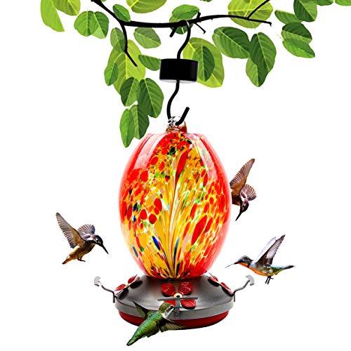 LKEREJOL Hummingbird Feeder for Outdoor Garden with Perch, 28 Fluid Ounces Leak-Proof Hand Blown Glass Wild Bird Feeder for Outdoors Hanging, with Ant Moat, Brush, Hemp Rope, Hanging Hook
