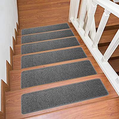 "Indoor Smooth Steps Special Silicone Pad Non-Slip Stair Treads, Polypropylene Fiber Stairs Movable Floor Carpeting 8"" x 30"" (13-Pack, Grey)"
