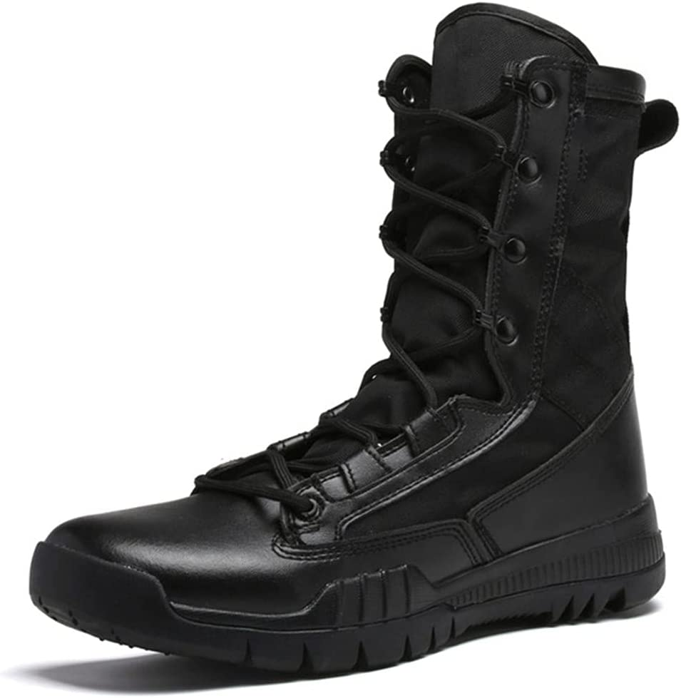KEHAIOO Outdoor Military Tactical Combat Boot, Men Actual Combat Field Boots, High Top Hiking Shoes, Camping Travel Shoes