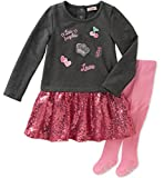 Juicy Couture Girls' Dress and Tight Set, Charcoal Grey Heather/Pink Swizzle/Pink Sand, 6-9 Months