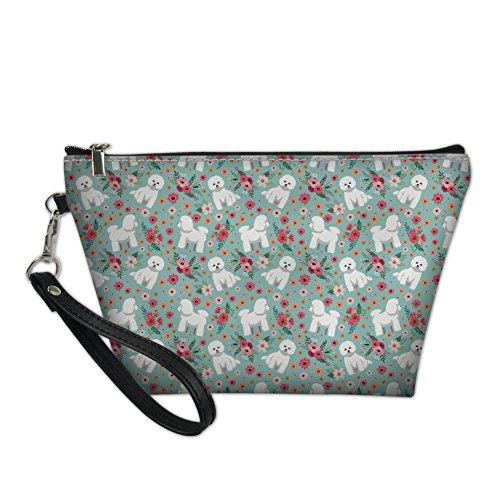 HUGS IDEA Bichon Frise Flower Stylish Toiletry Pouch Travel Protable Cosmetic Storage Bag Waterproof