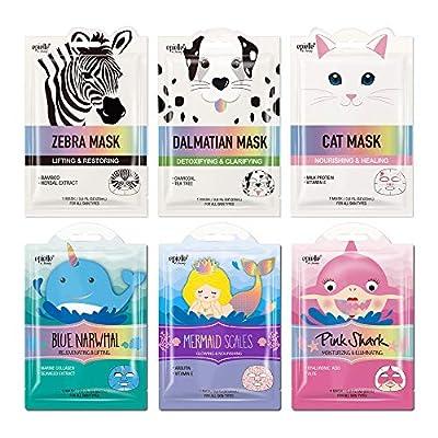 Epielle Character Sheet Masks | Animal Spa Mask | Dalmatian, Zebra, Cat, Shark, Narwhal, Mermaid Scale | Korean Beauty Mask -For All Skin Types, (Pack of 6) from Kareway