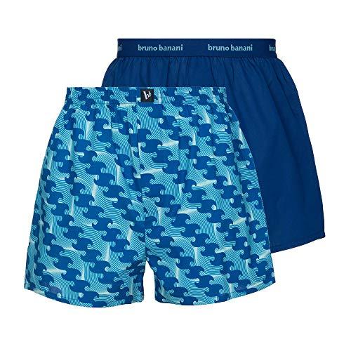 bruno banani Herren Reveller Boxershorts, blau Wave Print // blau, L