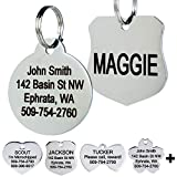 GoTags Stainless Steel Pet ID Tags, Personalized Dog Tags and Cat Tags, up to 8 Lines of Custom Text Engraved on Both Sides, in Bone, Round, Heart, Bow Tie, Flower, Star and More (Round, Small)