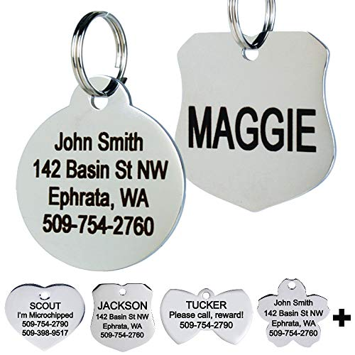 GoTags Stainless Steel Pet ID Tags, Personalized Dog Tags and Cat Tags, up to 8 Lines of Custom Text Engraved on Both Sides, in Bone, Round, Heart, Bow Tie, Flower, Star and More (Round, Regular)