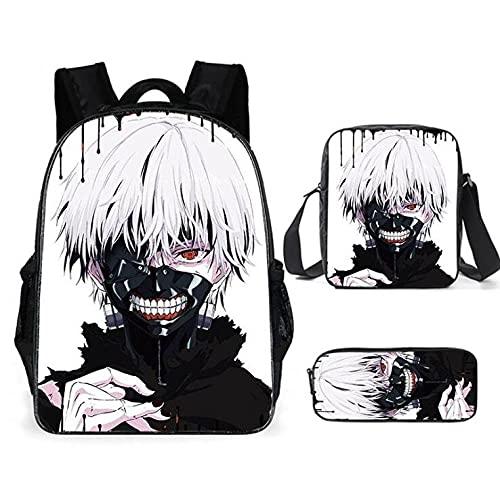 Anime Tokyo Ghoul 3D Zaino 3 Pezzi Set Borsa a Tracolla Grande Capacità Zaino Per Laptop Casual Zaino Nero